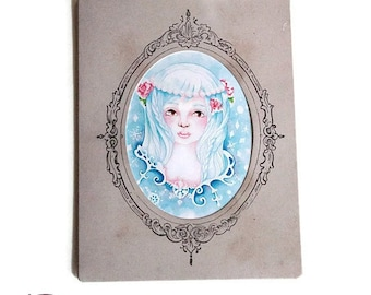 Reproduction framed in a bag frame vintage art print - snow Queen