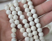 6mm Beads, Natural White, Magnesite beads, Round Beads, Full Strand, AA Quality, Jewelry Supply
