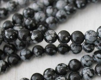 6mm Snowflake Obsidian, Black Beads, Gemstone Beads, Natural Beads, Round Beads, Full Strand, 6mm Beads,