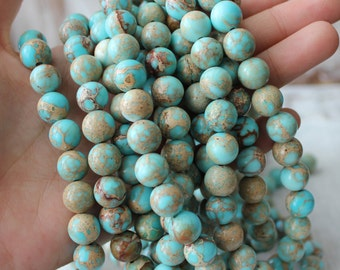 Aqua Blue Impression Jasper 10mm round gemstone beads blue gemstone full strand jewelry supply