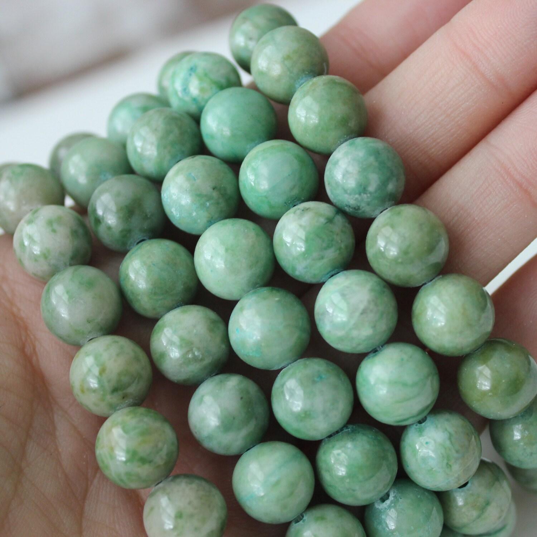 Genuine Jade Beads: 10mm Ching Hai Jade Gemstone Beads Round Full Strand Genuine