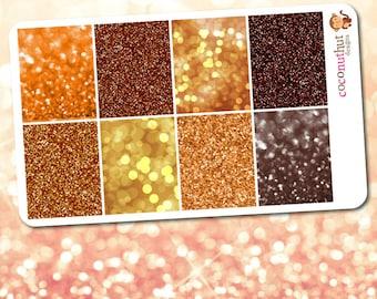October / Orange & Brown Glitter and Bokeh Full Box Planner Stickers (Erin Condren Life Planner Monthly Colors)