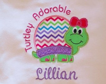 Girl Turtle / Turtley Adorable Embroidered Shirt