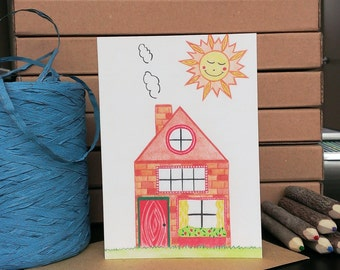 Card House - A6 Greeting Card with Envelope - Blank Card - New House - Just Because Card - Card Recycled Paper.