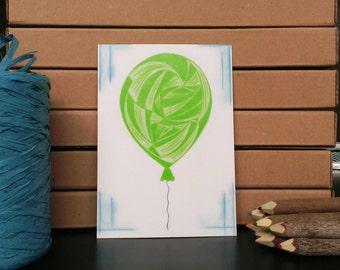 Card Balloon - A6 Postcard - Blank Card - Birthday Card - Congratulations Card - Card Recycled Paper.