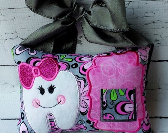 Girl Tooth Fairy Pillow. Embroidered tooth pillow.