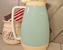Thermo Serv Pitcher, Vintage Westbend Carafe, Turquoise Pitcher, Vintage Turquoise Thermos, Turquoise Hot and Cold Server, Vintage Turquoise