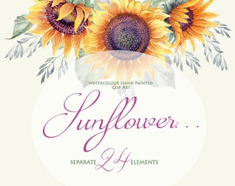 Watercolor Flower clipart - Sunflower... - Separate elements - Hand painted - DIY Clip Art - Greeting card - Wedding invitations