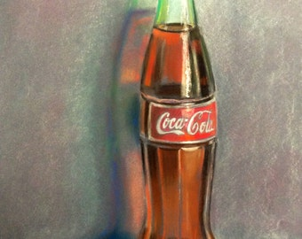 Coke Bottle Pastel Drawing, Original Pastel Drawing