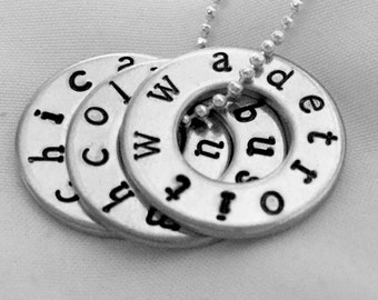 WWA Tour Necklace Pendant Custom Hand Stamped Concert Jewelry, One Direction, Tour Washer