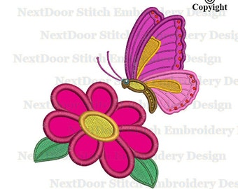 Butterfly embroidery design, flower machine embroidery design butterflies digital file download, btf-004