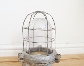 Vintage salvage industrial factory explosion proof cage light