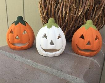 Custom Ceramic pumpkin tea light holder, you choose color, halloween candle holder, halloween decor, halloween tea light