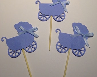 24 Baby Carriage Cupcake/Food  Toppers .