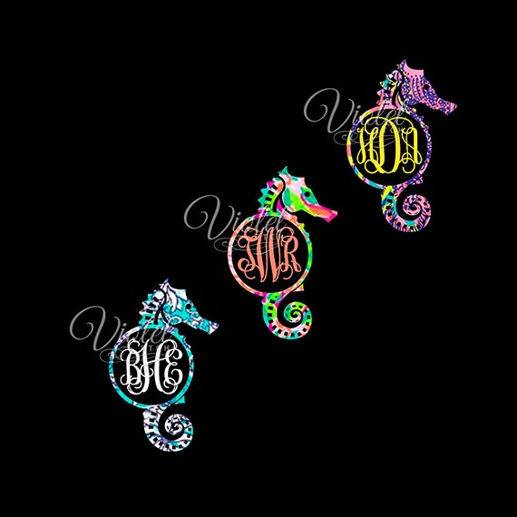 Seahorse Decal-Lilly Inspired-Vine Monogram Decal-Seahorse Monogram Decal-Yeti Decal-WindowDecal