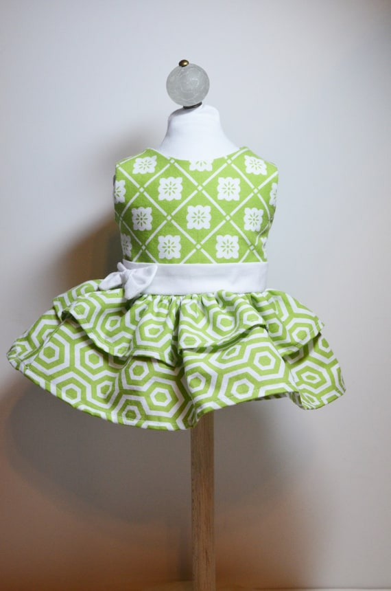 """Garden Party Dress for 18"""" Dolls Green White Dress and Bloomers Fits AG Dolls"""