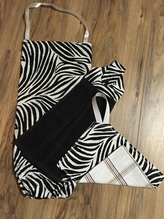 Zebra Print Hanging Hand Towel Plastic Bag By Amandasafghans