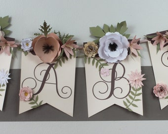 Floral Banner for Girl Baby Shower and Nursery
