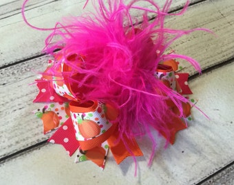 Fall Over The Top Hair Bow Thanksgiving Pumpkin Hair Bow Shocking Pink /Orange Over The Top Hair Bow Thanksgiving Over The Top Hair Bow