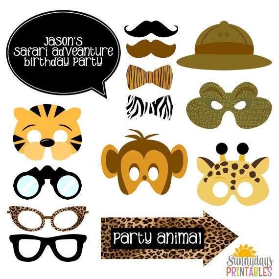 Safari Photo Booth Props Giraffe Mask Tiger Mask Monkey