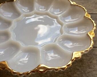 Vintage Milkglass Egg Plate