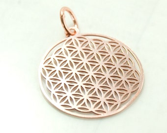 Flower of life, pendant with loop, 925 silver, rosegold pl art.3275