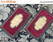 JULY SALE a pair shabby chic antique French Chateau boudoir item doily tablecloth tablerunner classical style silk velvet fabric gold metall