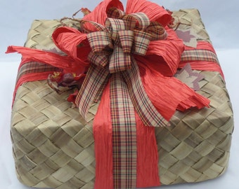 Hand Woven Guam Gift Box with Red Crepe and Plaid Bow