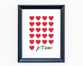Je t'aime print 8x10 I love you print, Be mine, Valentine's day , French quote, Inspirational, Typograhy, red hearts print, Je t'aime poster