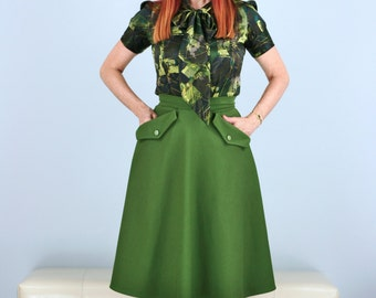 Vintage 1950s Style Circle Skirt Green With Pockets Size XS Small