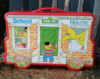 Sesame Street Schoolhouse Playset and Carry Case/Vintage 1990s/Carry Along Playset For Vinyl Figures/Collectible Childs Toy/Sesame Street