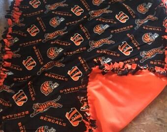NFL Cincinnati Bengals Hand Tied Fleece Blanket