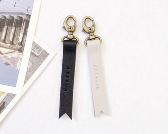 Couple Leather Keyrings in Black and White Genuine Leather, Wedding Gift, Anniversary Gift, Free Personalized Handstamped Monogram