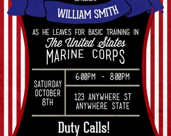 Basic Training Invite - Going Away Party - Grunge Texture - Any Branch of Service!