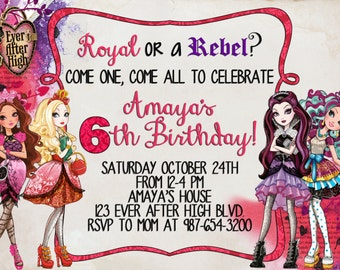 MULTIPLE COLOR OPTIONS - Ever After High Birthday Invitation - Digital File