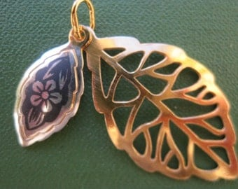 """SALE Products """"Severnaya Chern""""Gold-plated pendant from sterling silver 925 """"Openwork Leaves"""". Russian silver. Handmade. Hand Painted"""