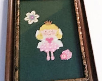 My Little Princess/Little Girl's Room Decor/Fabric Wall Art Framed