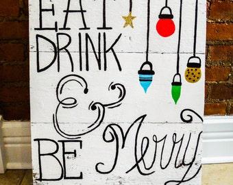 Barn Wood Christmas Sign - Barn wood, handpainted, wall decor, christmas, wall art, holiday decor