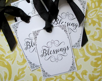 Blessings Tags Black and White - Set of 6