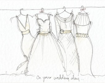 Wedding dress 6x4 greetings card