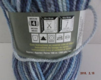 Patons Decor ~ Wool Blend ~ Rich Blues Variegated ~ #4 Medium ~ 100 grams ~ 208 Yards