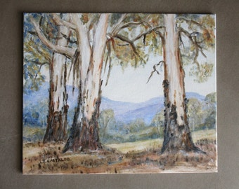 Australian Gum tree painting, Australian High Country painting, Acrylic landscape Australia