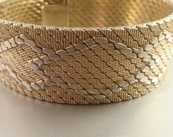 Bracelet, Mesh, Vintage Italy Heavy Gold over Silver Mesh