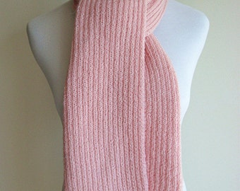 SALE (Original Price USD80) 100% Australian Wool Hand Knit Scarf (Light Pink 0002)