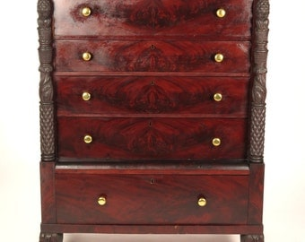 Antique 19th c Empire tall chest of drawers carved hairy paw feet mahogany dresser