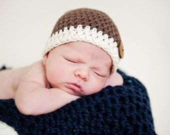 3-6 Mos. Newborn Brown Baby Boy Beanie Hat With Wooden Button Accent