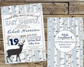 WOODLANDS, DEER Baby Sower Invitation, Digital/Printable
