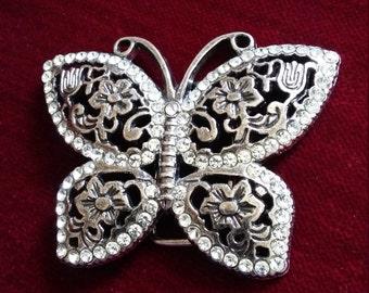 Vintage butterfly/flowers/ belt buckle silvertone/rhinestone belt buckle-boho/hippy chic