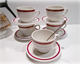 Retro Coffee Cup & Saucers, Medallion Sterling China, Restaurant Ware, Classic Onieda Tea Cups