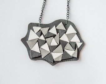 Polymer clay faux leather necklace-Black white and grey necklace-Triangles-Polymer clay pendant